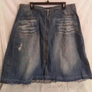 Lane Bryant distressed midi jean skirt